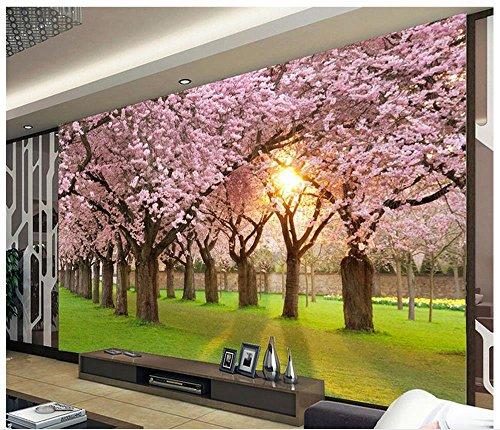 Nevso 3D Tapete Wandmalerei Fresko Wandaufkleber 3D Raum Tapete Kirschblüten Holz Dekorative Malerei Hintergrund Wand Foto Wandbild Tapeten Home Decoration300cmX210cm