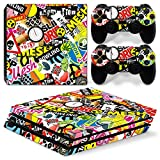 46 North Design Playstation 4 PS4 Pro Folie Skin Sticker Konsole Graffiti aus Vinyl-Folie Aufkleber Und 2 x Controller folie