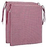Brandsseller Sitzkissen Stuhlkissen kariert Kissen Sitzpolster - 40 x 40 cm (2er-Paket, rot)