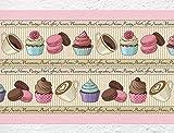 "I-love-Wandtattoo b-10129 Küchenbordüre Bordüre ""Bunter Nachtisch"" Cupcakes Kuchen Kaffee Bordüre Küche Deko Wanddeko"