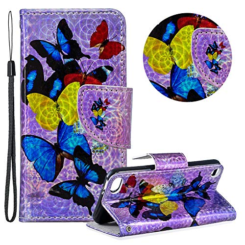 Gurt Brieftasche für iPod Touch 5,Laser Wallet Handyhülle für iPod Touch 6,Moiky Ultra Dünn Stilvoll Bunt Schmetterling Muster Geprägt Klappbar Stand Silikon Handytasche -