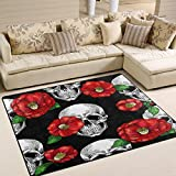 Use7 Teppich, Kamelie, Blumen-Motiv mit Zucker und Totenkopf, Rot, Textil, Mehrfarbig, 160cm x 122cm(5.3 x 4 feet)