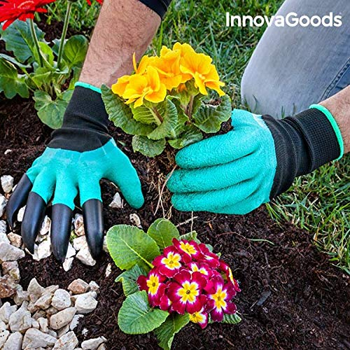 InnovaGoods Gartenhandschuhe mit Krallen, Grün