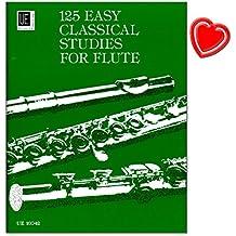 125 Easy Classical Studies für Flöte - Lehrwerke und Kompositionen berühmter Flötisten wie Quantz, Böhm oder Köhler - Notenbuch mit bunter herzförmiger Notenklammer