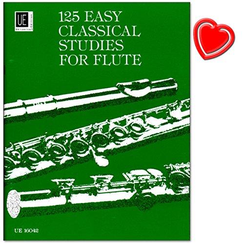 Preisvergleich Produktbild 125 Easy Classical Studies für Flöte - Lehrwerke und Kompositionen berühmter Flötisten wie Quantz, Böhm oder Köhler - Notenbuch mit bunter herzförmiger Notenklammer