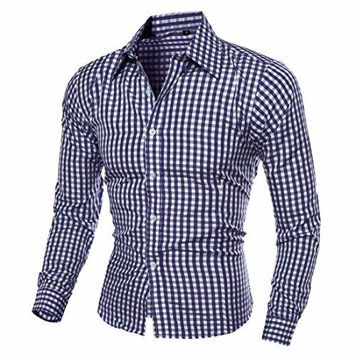 QIYUN.Z Männer Schlanke Passform Revers Shirts Lange Ärmel Plaid Button Unten Kleid Hemden Marine