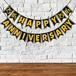 Wobbox 25th Anniversary Bunting Banner, Golden Glitter & Black , Anniversary Party Decoration