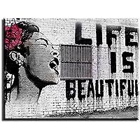 PIY Cuadro sobre lienzo Pintura Banksy La vida es bella Arte de la Lona Arte de La Pared Decoraciones Interiores Impermeable listo para Colgar Cuadros Sobre el Lienzo con Bastidor de Madera Gancho Colgante Para el Dormitorio Sala Comedor Cocina 30x40x2.5cm
