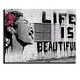 PIY Painting Leinwandbild Bansky Wandbild Life is Beautiful  Schreiende Frau Wasserdichte Bilder und Kunstdrucke auf Leinwand Wanddeko für Schlafzimmer Wohnzimmer Esszimmer Küche Graue Malerei 30x40cm