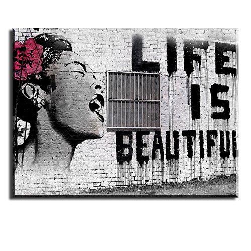 dbild Bansky Wandbild Life is Beautiful  Schreiende Frau Wasserdichte Bilder und Kunstdrucke auf Leinwand Wanddeko für Schlafzimmer Wohnzimmer Esszimmer Küche Graue Malerei 30x40cm (Frau Bild)