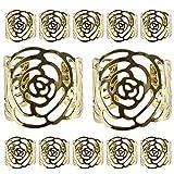Kakoo, Portatovaglioli in metallo, a forma di rosa, per festa di matrimonio e decorazione della tavola, confezione da 12 Gold