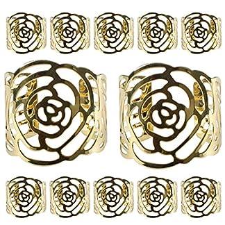 Juego de 12 servilleteros de aro de servilleta de Kakoo para servilletas de tela y papel y los anillos metálicos de diseÑor hueco del dibujo roso para fiesta de navidad y decoración de mesa