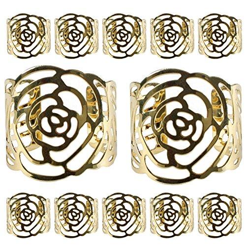 KAKOO 12 Stück Serviettenringe Set, Metal Rose Morderne Serviettenhalter für Hochzeit Geburtstag Weihnachten Taufe Tisch Dekoration (golden)