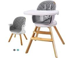 YOLEO Trona para Bebe madera evolutiva , Trona de madera evolutiva, Trona para bebés con bandeja extraíble, Ajustable,Trona g