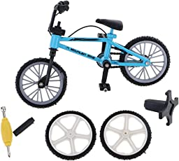 MagiDeal Metal Finger Mountain Bike Bicycle Mini Fingerbike Model with Spare Tires Boys Toy Collectible - blue