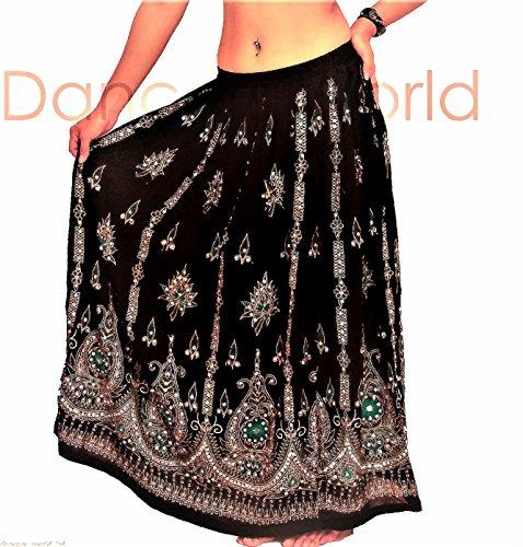 Splendido da donna indiana boho hippie gypsy paillettes estate prendisole Maxi gonna m l Black3