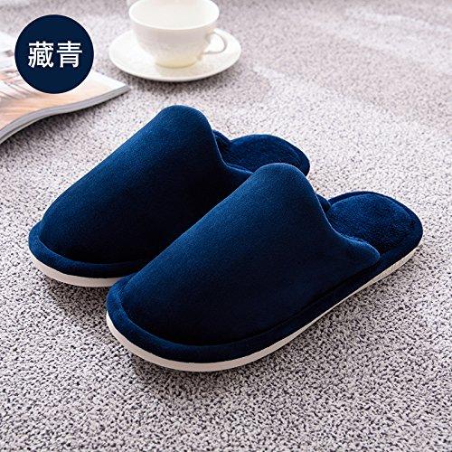 Doghaccd Zapatillas, Invierno Color Sólido Zapatillas De Algodón Grueso Hombres Y Sala De Estar Con Antideslizante Cálido Par Extra Grueso Elegante Invierno Zapatos Hembra Azul Oscuro3