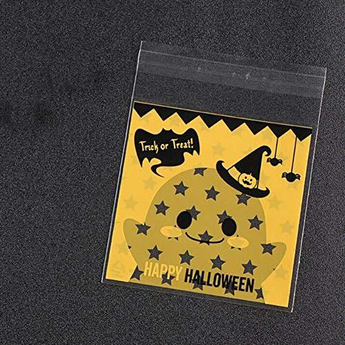 100 Stück Selbstklebend OPP Tütchen (10 * 10+Klappe 3cm) Halloween Plastiktüten klein Flachbeutel transparent Beutel Plätzchen Gebäck Tüten Süßigkeiten Geschenk Verpackung für Plätzchen Gebäck