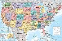 Affiche géographique Apprenez les 50 états qui font partie des États-Unis avec ce poster aux couleurs vives. Poster grand format