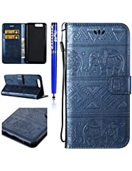 FESELE Huawei P10 Coque,Huawei P10 Housse,Huawei P10 Étui Cuir,Premium Folio Cuir [Éléphant] Embossing Portefeuille avec Cordon Lanyard Retro Housse pour Huawei P10,Support Flip PU Leather Wallet Case Coquille Smart de Coque avec Card Holder étui pour Huawei P10 + 1 x stylet bleu - Bleu Marin
