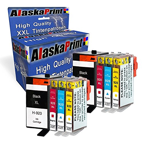 Preisvergleich Produktbild 8 XXL Tintenpatronen kompatibel für hp 920xl 920 xl für HP Officejet 6000 6500 7000 7500 7500A 6500A Plus E709 Tinte Drucker Patrone mit Chip und Füllstandsanzeige (2x Schwarz, 2x Cayan, 2x Magenta, 2x Yellow)