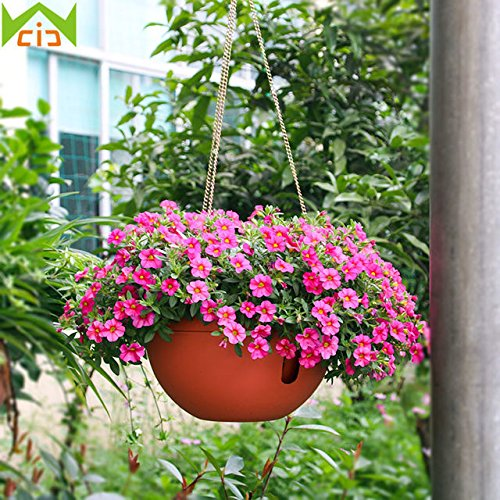 Antier Plastic Flower Plant Hanging Pot Chain Basket Balcony Indoor/Outdoor Decoration (Multicolor)