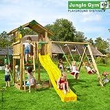 Jungle Gym Hannas CHALET - Spielturm Set mit Schaukel und Rutsche - ROT