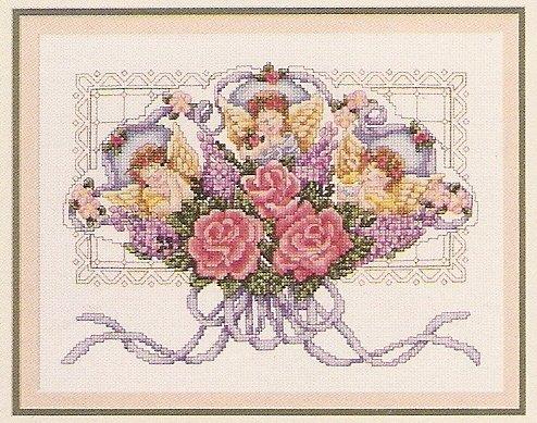 Viktorianischer Powder Room Kreuzstich Diagramm/Muster–8Designs (Florale Diagramme)