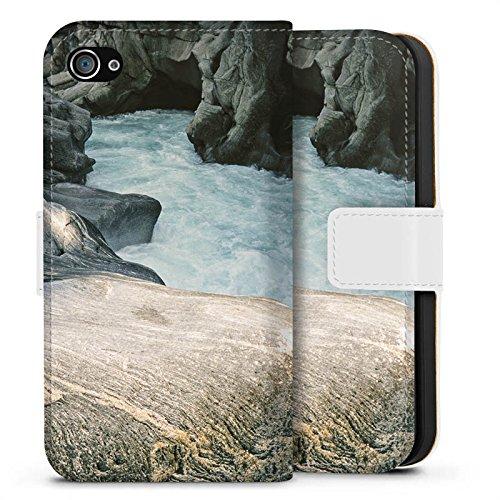 Apple iPhone X Silikon Hülle Case Schutzhülle Fluss Felsen Natur Sideflip Tasche weiß