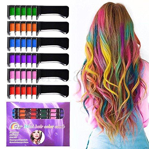 Coloration de cheveux Peignes – Huplue 6 couleurs temporaire Cheveux Craie Peigne Brosse Jetable Cheveux Couleur crème pour les fans de fête,, Cosplay, enfants la Coloration, fête d'Halloween