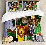 HENUK 4-teiliges Bettwäsche-Set Zoo Tiere im Dschungel lustige Ausdrücke exotische Comic Cheer Natural Habitat Illustration Dekorative Mehrfarbig, Polyester-Mischgewebe, Multi, King Size
