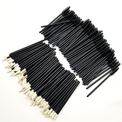 Dermastil Lot de 100 extensions de cils jetables pour extensions de cils sans peluches + 100 bâtonnets de nettoyage pour les cils