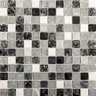 30cm X 30cm Matte Klare Und Gebrochener Glas Optik Und Stein Mosaik Fliesen  Weiß, Grau