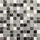 30cm x 30cm Matte Klare und Gebrochener Glas Optik und Stein Mosaik Fliesen weiß, grau, schwarz (MT0152)