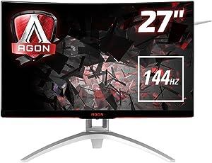 AOC Agon AG272FCX 68 cm (27 Zoll) Curved Monitor (HDMI, USB Hub, DisplayPort, 4ms Reaktionszeit, 144 Hz, 1920x1080, FreeSync) schwarz/rot