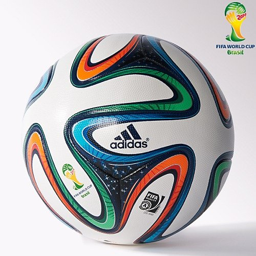 Adidas ADIDG736175 Brazuca Fifa 2014 World Cup Official Match Soccer Ball, Size 5 (Multicolour)  available at amazon for Rs.699