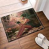 yinyinchao Zeichentrickfiguren, Schmetterlings-Feen im Wald Badteppiche, Rutschfeste Fußmatte Bodeneingänge Outdoor Indoor-Türmatte, Kinderbadmatte, 40x60 cm, Badzubehör
