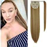 Long Straight Ponytail Extension Synthetic Hair 20 Inch Clip in Magic Paste Wrap Around Ponytail Hairpiece for Women…
