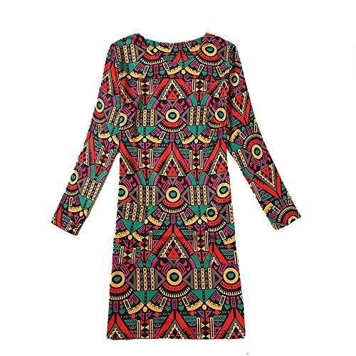 Yue Lian Damen Mehrfarbig Paisley Gemustert Kleid Urlaub Reise Muster #4