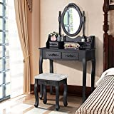 UEnjoy Black Dressing Table Vanity Makeup Desk w/ 4 Drawers, Mirror and Stool Furniture