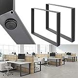 ECD Germany 2 stuks tafelpoten - 80 x 72 cm - gepoedercoat staal - donkergrijs - industriële vormgeving - tafelframe tafelond
