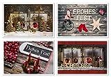 Weihnachtskarten-SET 4 Stück Weihnachten Karten Frohes Fest rot braun natur weihnachtliche Klappkarten Holz-Optik Baum Kerze Fenster Santa Fotokarten