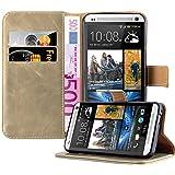 Cadorabo - Funda Estilo Book Lujo para HTC ONE M7 (1. Generación) con Tarjetero y Función de Suporte - Etui Case Cover Carcasa Caja Protección en MARRÓN-CAPUCHINO