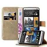 Cadorabo Hülle für HTC ONE M7 - Hülle in Cappucino BRAUN – Handyhülle im Luxury Design mit Kartenfach und Standfunktion - Case Cover Schutzhülle Etui Tasche Book