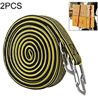 Plastico transparente etiquetadora 2 PCS 4m elástico Strapping Tape la cuerda Embalaje for motocicleta de la bicicleta del asiento trasero de gancho con cinchas de amarre (Color : Yellow)