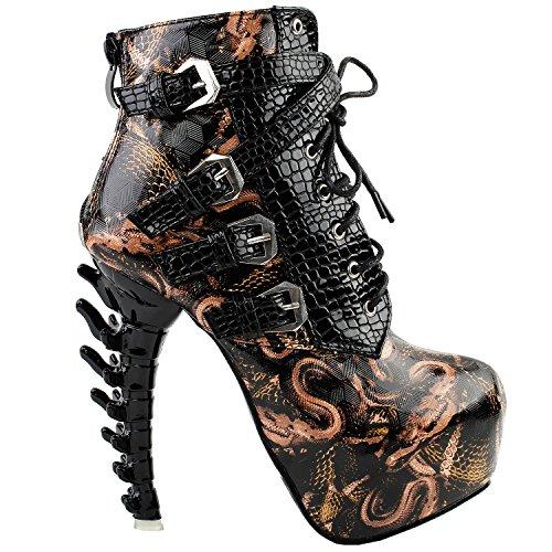 Show Story Schwarz Punk-Design High Heels Braun Schlange Muster Damen High-Top Knochen High Heel-Plattform Stiefeletten, LF80648BR38, 38EU,Schwarz - Sexy High Heels Plattform