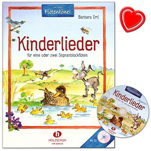Kinderlieder für eine oder zwei Sopranblockflöten von Barbara Ertl - Sammlung von 33 traditionellen deutschen Kinderliedern, mit CD und Notenklammer - VHR3648CD 9783864340857 -