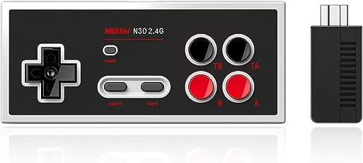 N30 2.4G,YIKESHU klassischen Wireless-Controller 8Bitdo NES Mini-Gamepad, Plug-and-Play mit Berstfunktion, 25 Stunden Akkulaufzeit, mit Home physischen Knopf, geeignet für NES klassische Mini-Spielkonsole