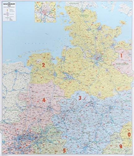Postleitzahlenkarte Nord-West, 1:350 000, Posterkarte (Schleswig-Holstein, Hamburg, Niedersachsen, Bremen)