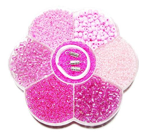 Basteln - Perlen Mix - Rosa/Pink-Mix - incl. Nylon Schnur u. Verschluss - ca. 120gr - (1x1Set)